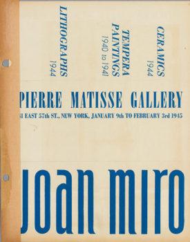 Carton d'invitation pour une exposition de Joan Miró à la Pierre Matisse Gallery, NYC, janv-fév 1945