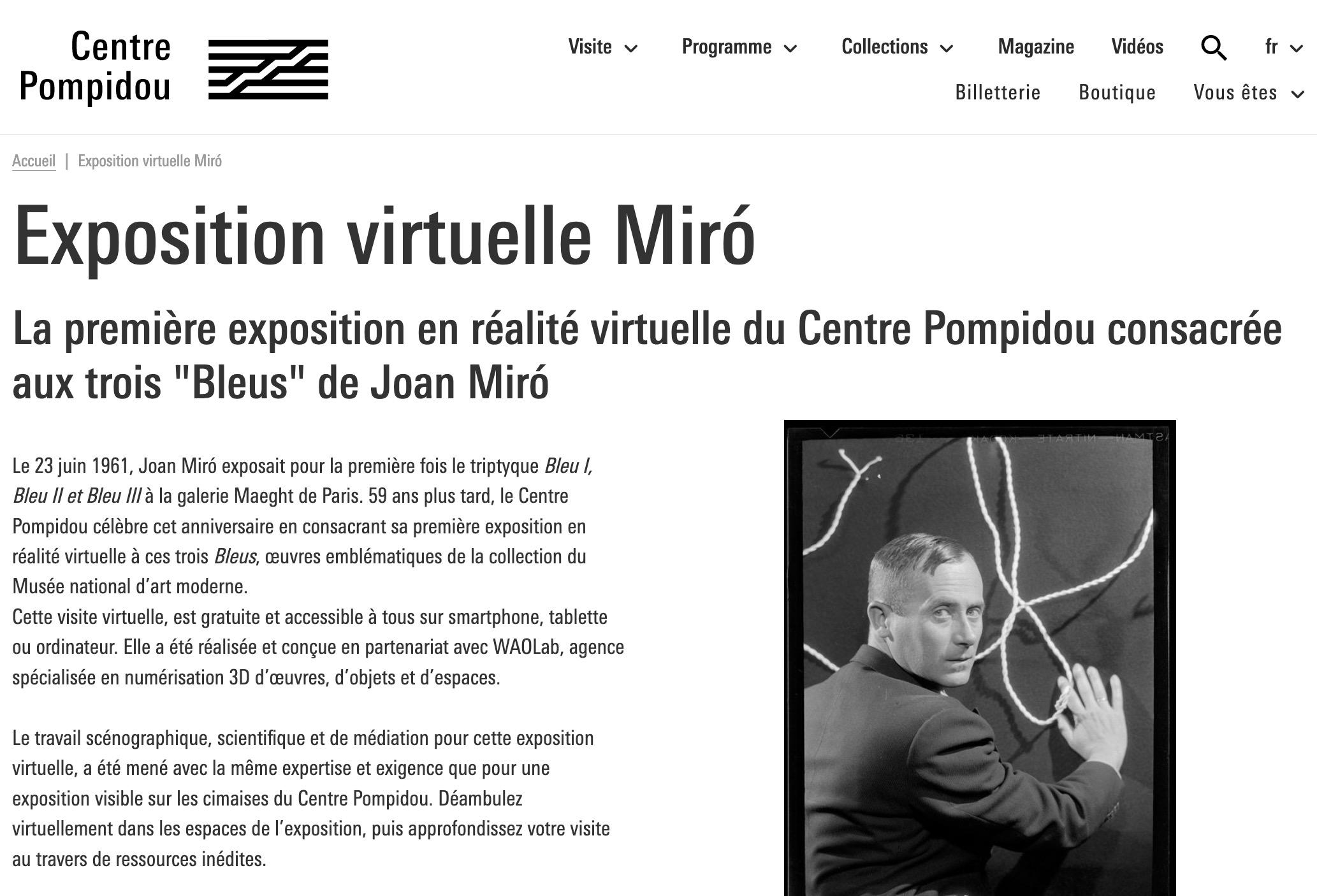 Centre Pompidou-Expo Miro VR